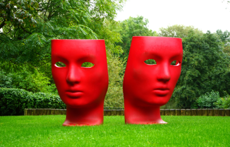 red faces in the park