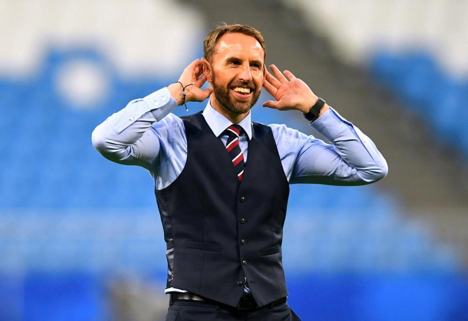 gareth southgate vest and smile